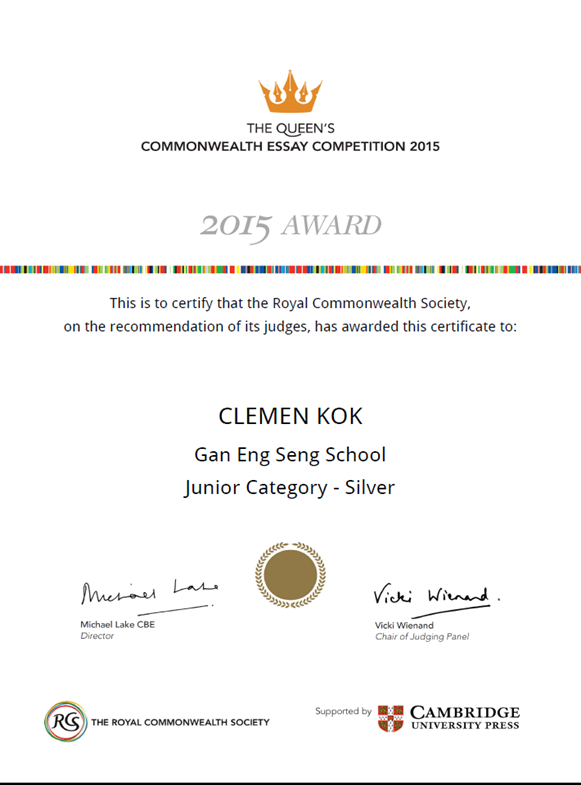 Thesis Statements For Persuasive Essays Clemen Kok Of D Won A Silver  Junior Category Award For The Essay He  Submitted In April  Secondary School English Essay also Term Paper Essay Commonwealth Essay Competition   Silver Award  Gan Eng Seng School Business Etiquette Essay